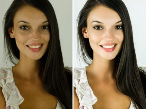Portrait of a beautiful brunette girl before and after retouching with photoshop. Bad photo vs good photo, acne beauty treatment. Edited photos being compared.